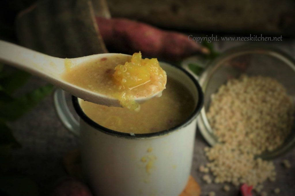barley ragi sweet potato soup / healthy soup recipe