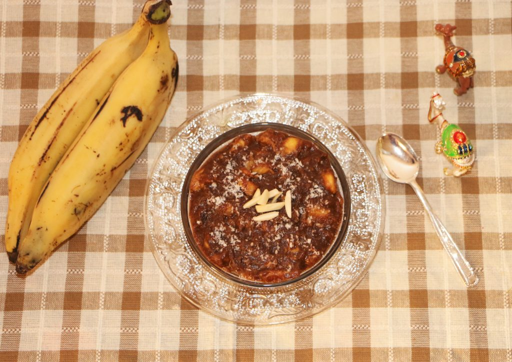Chocolate banana halwa / chocolate banana panchamirtham