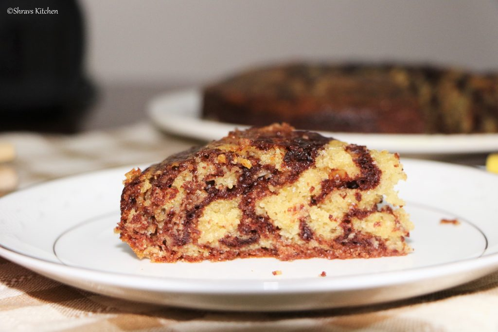 eggless zebra cake / whole wheat marble cake / vanilla chocolate cake