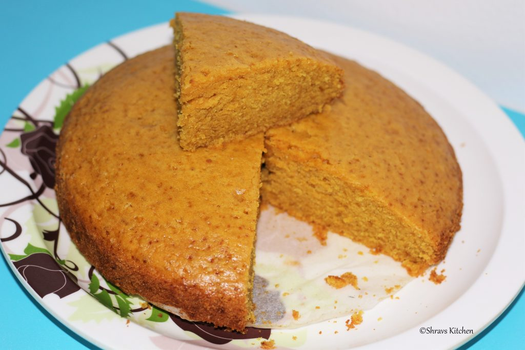 eggless whole wheat custard sponge cake