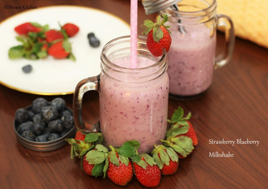Strawberry blueberry milkshake