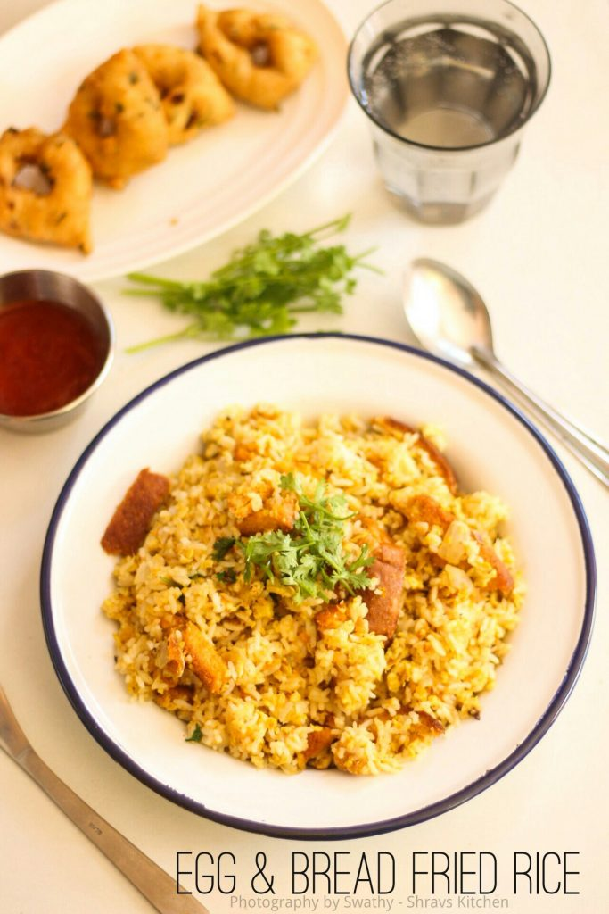 Egg and bread fried rice / egg rice