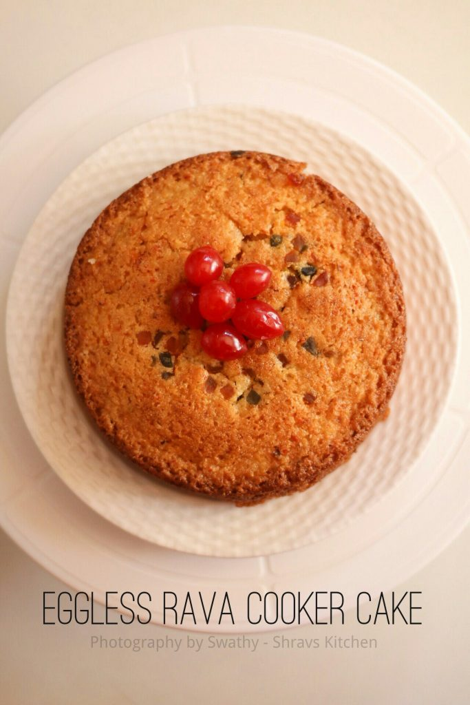 Eggless rava cake in cooker