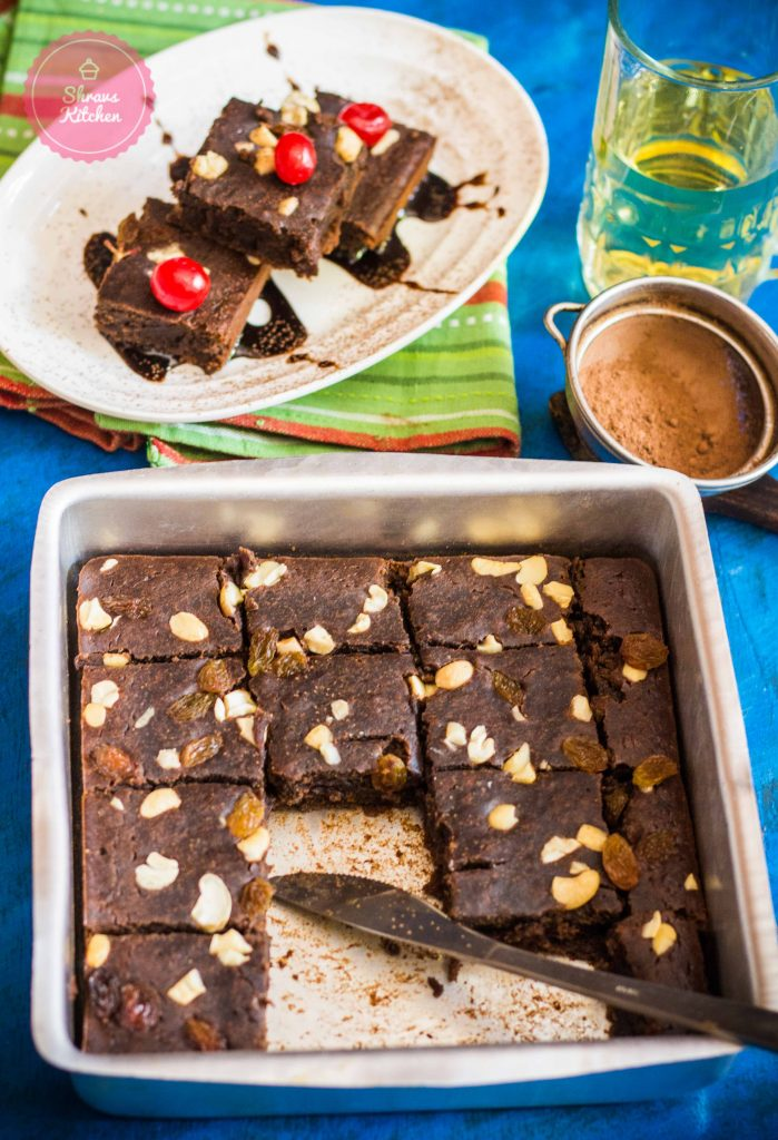 Eggless chocolate brownie / whole wheat brownie in cooker