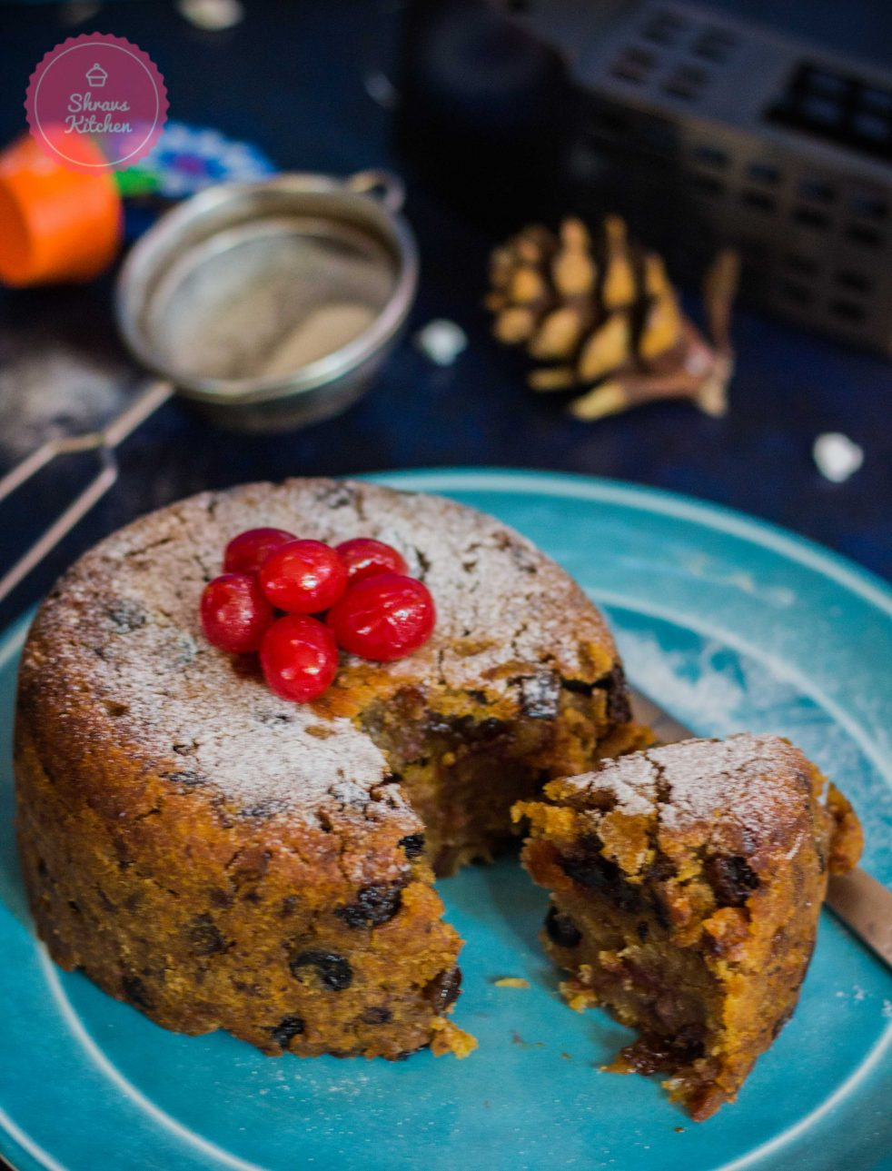 eggless christmas pudding / plum pudding / christmas recipes / christmas cake