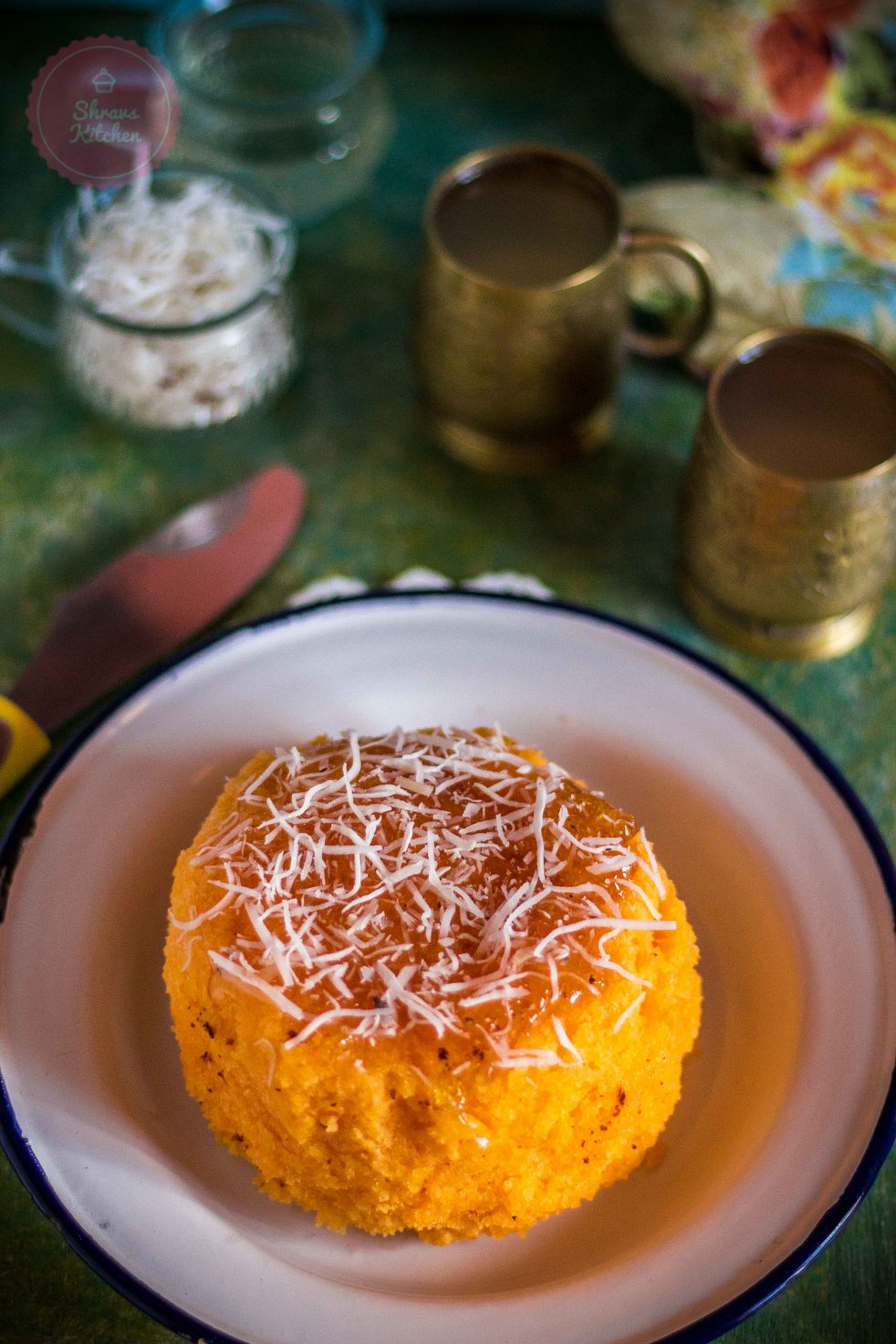 eggless orange cake / orange honey cake / orange marmalade cake / orange cake with jam glaze / orange cooker cake / eggless pressure cooker cake / orange sponge cake